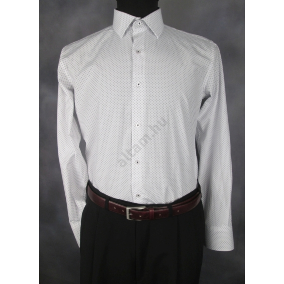 Francesco Uomo, slim, fehér, apró mintás férfi ing. Méret: 52